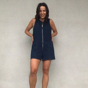 Gap denim zip-front romper. Medium.